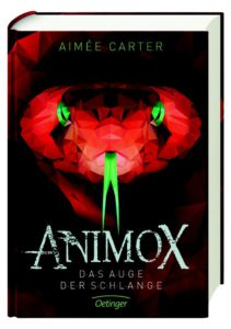 Auf dem Cover des Kinderbuches Animox Das Auge der Schlange starrt uns eine Schlange entgegen.